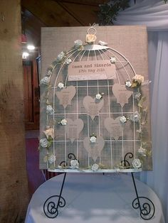 Wedding table plan birdcage shabby chic vintage with heart birdcage table plan cardsandgiftsbylouise junglespirit Choice Image