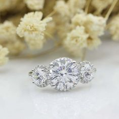 4.00Ct Round Cut VVS1/D Diamond Three Stone Women's Ring 14K White Gold Plated | eBay