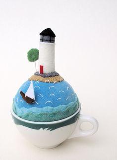 felt lighthouse, ocean, yacht pin cushion tea cup