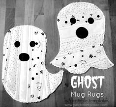Make two different styles with this Ghost Mug Rug Tutorial. Printable templates…