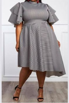 Fashion Sexy Striped Plus Size White Dress Yellow Fashion, Red Fashion, Fashion Dresses, African Fashion, African Style, Blue Plus Size Dresses, Plus Size Outfits, Nice Dresses, Striped Dress