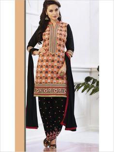 Black/Peach Party Wear Art Silk Suit