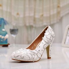 9347edbe2 Stiletto Heel Slip-On Round Toe Plain Appliques Rhinestone Women s Wedding  Shoes