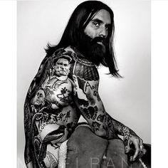Ricki Hall - full thick dark beard mustache beards bearded man men tattoos tattooed bearding long hair portrait #beardsforever