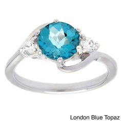 Oravo Sterling Silver Gemstone and Cubic Zirconia Round-cut Ring (London Blue Topaz Size 5), Women's