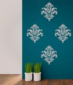 Wall Decal Damask Wallpaper Damask by AdnilCreations on Etsy Wall Painting Living Room, Wall Painting Decor, Stencil Painting On Walls, Damask Nursery, Nursery Decals, Wall Stencil Designs, Wall Paint Patterns, Bedroom Paint Design, Bedroom Wall Designs