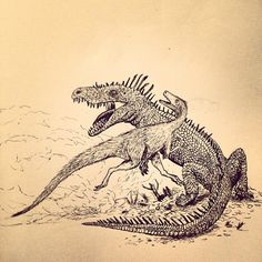 Herrerasaurus attempting to escape from a Saurosuchus in late triassic Argentina