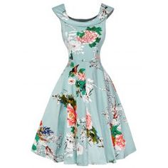 Cap Sleeve Floral Fit and Flare Dress - Light Green L