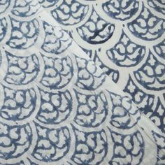 10 Yard Blue white Fabric Authentic Pattern by handprintedshop