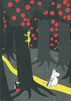 """Tove Jansson - """"Vad hände sen?"""" The use of colour is probably the most important thing. the red and the yellow stop the picture from being boring and to make the trees look darker. moomin then stands out because they are so pale contrasting with the trees making them the first focus of the picture"""