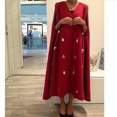 Cape we can make in red black baby pink navy blue color . This model only by order . Arab Fashion, Islamic Fashion, Muslim Fashion, Modest Fashion, Indian Fashion, Fashion Outfits, Gold Fashion, Fashion Clothes, Mode Abaya