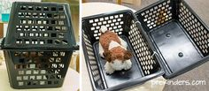Great ideas for a Vet dramatic play area.  Picture shows a DIY Pet Carrier for Kids