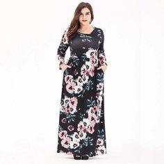 9e3f1cd2df1 Plus Size Long Sleeve Retro Elegant Floral Print Rayon Loose Maxi Dress Big  Women Clothing