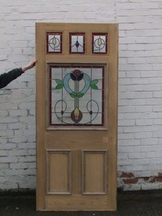 LARGE VICTORIAN STAINED GLASS FRONT DOOR BIG OLD WOOD SOLID ...