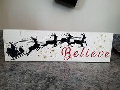 Believe Wood Block Sign Santa Sleigh Christmas Stars