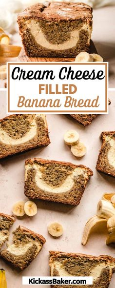 Visit the blog to get the recipe and directions to make this Cream Cheese Filled Banana Bread in your own home. With a thick sweet cream cheese filling swirled throughout the bread and a crunchy sugar crust, this delicious and satisfying take on Banana Bread will leave your friends and family begging for more! Best Bread Recipe, Quick Bread Recipes, Banana Bread Recipes, Fruit Recipes, Sweet Recipes, Dessert Recipes, Muffin Recipes, Fall Recipes, Breakfast Recipes