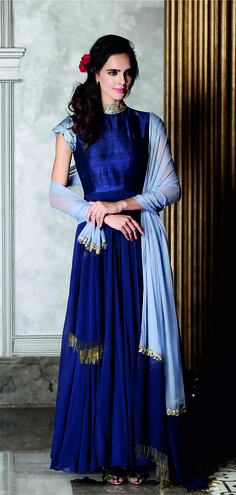 Navy blue anarkali suit with embroidery in raw silk and georgette, navy blue dupatta with embroidery in georgette, and navy blue churidaar in lycra Indian Attire, Indian Wear, Indian Outfits, Party Looks, Indian Designer Wear, Anarkali, Saree, Indian Fashion, Women's Fashion