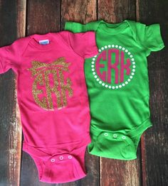 INFANT Short Sleeve Oversized Monogram Onsie by YounInkBoutique