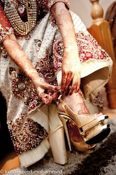 Crystal studded red and white bridal lengha