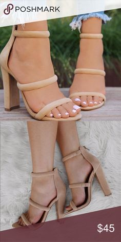 Nude Faux Suede Triple Strap Chunky Heels Nude Faux Suede Triple Strap Chunky Heels   Make a major statement in our latest chunky heels! They feature a faux suede material, triple strap design, rear zipper for closure, single soles, chunky heels and cushioned insoles. Wear this pair with your favorite shift dress and youre set to go!  -True to size (Sizing may vary based on foot width) -heel approx. 4 1/2 inches Shoes Heels