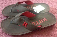 Rutgers Scarlet Knights Zori Flip-Flops Sandals Brown Canvas Football NWT  #Rutgers #FlipFlops