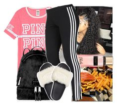 """"""""""" by saditydej ❤ liked on Polyvore featuring Victoria's Secret PINK, MICHAEL Michael Kors, Victoria's Secret and adidas"""