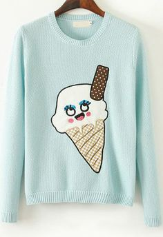 ain't it sweet?  Mint Green Long Sleeve Ice Cream Print Sweater 31.67