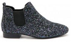 Boots plate à paillettes noir Texto