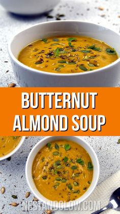 Butternut Almond Soup Recipe - a great healthy winter warming soup made from roast butternut and almond butter. Vegan, gluten free, paleo and free of grains. A complete plant based meal with protein, fats and veg soup healthy recipes rezepte soup soup Almond Soup Recipe, Butter Squash Recipe, Butter Squash Soup, Paleo Butternut Squash Soup, Zucchini Soup, Vegan Soups, Vegetarian Recipes, Healthy Recipes, Keto Recipes