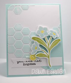 card flower flowers forget me not MFT die-namics You Are Not Forgotten #mftstamps stencil honeycomb hexagon paste