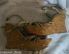 "Jessica Simpson Cork Heels Strappy Heel 5"" Size 8 SZ 8 slingback metallic strap                            $15"