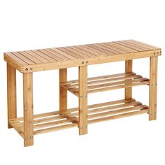 HOMFA Natural Bamboo Shoe Rack Bench 2 Tier Boot Organizing Rack Entryway Storage Shelf Hallway Furniture ** More info could be found at the image url. (This is an affiliate link)