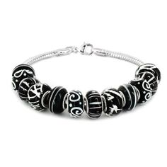 """Coastal Creations Beads """"Black Satin"""" on 7.5 Inch 925 Sterling Silver Bracelet with Lobster Clasp Pacific Beads. $59.95"""