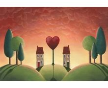 In its literal sense, the houses represent the people and the tree is the growing love between them. Format: Limited edition Giclee printed on Innova textured Fine Art paper 310gsm. Option, double mounted Print size: 32 x 46cm Mounted size: 50 x 64cm Please note that we do not ship framed work with Glass. We use optical grade Perspex to ensure damage free shipping. FREE UK mainland standard delivery on all orders   Note: all sizes are approx.
