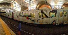 Almost a Wholetrain ... #metro in #rome #graffiti #trainart #wholetrain #wholecar #wholecars