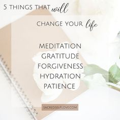 5 things that Will change your life!! __ Meditation - self awareness • concentration • balance • calm mind • understanding __ Gratitude- wellbeing • better sleep • become a better person • reduces feelings of envy • optimism • spiritualism __ Forgiveness- lower stress levels • healthier heart • less anxiety • higher self esteem __ Hydration- better skin • weight loss • mental clarity • good digestion • balancing mood • memory function • Water is the one!! __ Patience- better mental health…