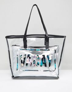 Get this New Look s shopping bag now! Click for more details. Worldwide  shipping. New Look Vacay Clear Beach Shopper Bag - Multi  Bag by New Look e1ce718910dd8