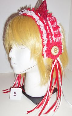 Lolita Maid Lace Kitty Ears Headband in Red and White with Ribbons and Rosettes (B) Kitty Ears, Headbands by CosplayMommas on Etsy