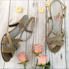 """Vintage Dior Nude  sandal slingback heels Vintage Christian Dior strappy Sandal Sling Backs. Made of real leather. Texture of shoe is a gator print. 4""""heel. Nude. Pre loved condition. Has toe prints from wear and scuffed bottoms. Two different size shoes right foot a size 6 left a size 6.5. Do to the nature of our feet most of us have a .5 difference in our feet. Please feel free to ask me any questions. Namaste Dior Shoes Sandals"""