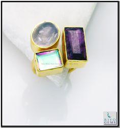 Multi Turquoise Gem 18 Kt Yellow Gold Plated Pre Engagement Ring Sz 8 Gprmul8-5303 http://www.riyogems.com