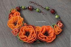 Купить Колье с цветами из бисера, бисероплетение, вышивка бисером, оранжевое…