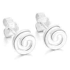 MunkiMix 925 Sterling Silber 925 Gestüt Ohrringe Schnecke Klassiker Poliert Damen