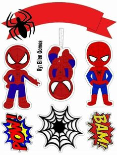 Homem aranha Spiderman Theme Party, Spiderman Girl, Spiderman Birthday Cake, Avengers Birthday, Superhero Birthday Party, Baby Batman, Spider Baby, Cupcake Toppers Free, Construction Theme Party