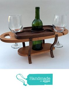 Handmade wood wine caddy, tabletop wine bottle rack, wine glass holder from Fine Wine Caddy https://www.amazon.com/dp/B0170ZETFO/ref=hnd_sw_r_pi_dp_aTGwzbP4AX3D7 #handmadeatamazon