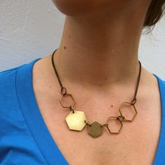 Brooklyn-based husband-and-wife duo Denoscowicz and Doyle choose brass for this piece—a material that will take on its ownorganic patinaover time, deepening its already abundant personality. Theasymmetrical interlocking, hexagonal compositionof this necklace shows a look that's more eclectic than lace and lockets. $49