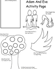 Adam and Eve Coloring Pages . 30 Inspirational Adam and Eve Coloring Pages . Adam and Eve Coloring Page Sunday School Lessons, Lessons For Kids, Bible Lessons, Bible Stories For Kids, Bible Crafts For Kids, Kids Bible, Adam And Eve Craft, English Worksheets For Kindergarten, Fun Worksheets