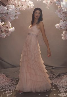 Discover our new bridal collection, 'Fallen For You', featuring tiered ruffle wedding gowns, embellished wedding dresses and soft ombre ballerina length skirts. Diana Wedding Dress, Cheap Wedding Dress, Wedding Gowns, Tulle Dress, Floral Maxi Dress, Needle And Thread Wedding Dresses, High Street Wedding Dresses, Traditional Gowns, Embellished Dress