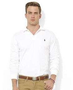 Polo Ralph Lauren Shirt, Classic-Fit Long-Sleeve Cotton Mesh Polo - Polos - Men - Macy\u0026#39;s Color (white) size xl
