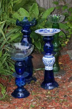 recycled glass totems( glass pieces, love that cobalt blue, green is pretty too, glass red tint coating washes away  :(