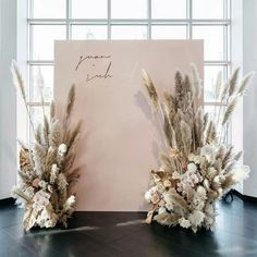 wedding backdrop N I C O L E + R I C H A R D // Its soooo fluffy! Couldnt stop laughing at how much hairspray was needed to tame the pampas! Wedding Stage, Boho Wedding, Floral Wedding, Dream Wedding, Destination Wedding, Forest Wedding, Wedding Reception, Reception Backdrop, Mauve Wedding